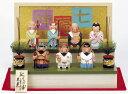 【一刀彫】【木彫】寿慶祝い人形 七福神二段飾り