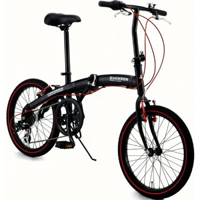 ヴァクセン 20インチ アルミ折りたたみ自転車 6段変速付 アングリフ レッド(1台)