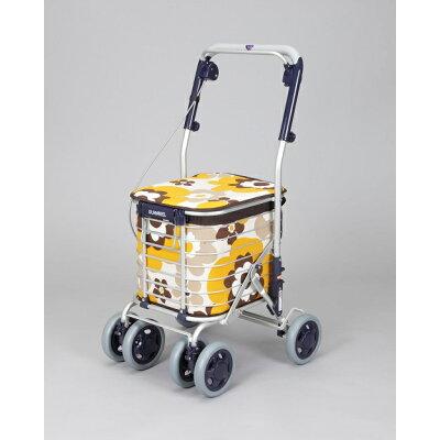 12月座れるカートアルミショッピングカートスワレル ユーバ産業 AS-0275 花柄イエロー色