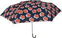折りたたみ 傘 Amane レザー ハンドル オリビア 花柄 ネイビー 50cm