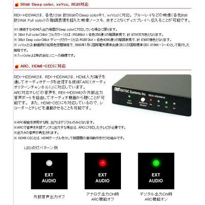 ラトックシステム HDMIマトリックススイッチ REX-HDSW42