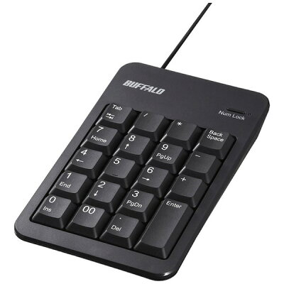 iBUFFALO 有線テンキーボード Tabキー USBハブ付き BSTKH100BK