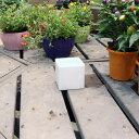 ホワイトポット角型 Sサイズ 直径9cm×高さ9cm 底穴あり 白 陶器鉢 化粧鉢 四角型