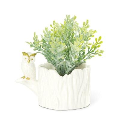 キシマ プランティングアウル 消臭アーティフィシャルグリーン&アニマルポット Feather leaf KH-60950