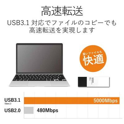 エレコム 回転式USBメモリ 64GB ホワイト MF-RMU3A064GWH(1コ入)