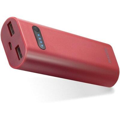 モバイルバッテリー リチウムイオン電池 おまかせ充電対応 6400mAh 2.6A レッド(1コ入)