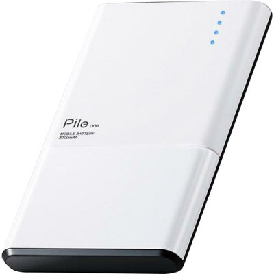 エレコム モバイルバッテリー 薄型 3000mAh 高出力 PSE適合 ホワイト DE-M05-N3015WH(1個)