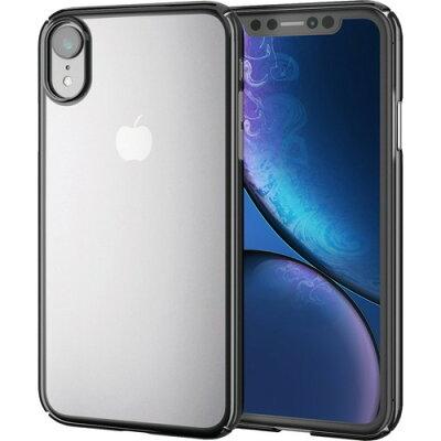 エレコム iPhone XR シェルカバー 極み サイドメッキ ブラック PM-A18CPVKMBK(1個)