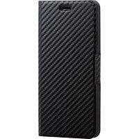 エレコム iPhone XS Max ソフトレザーカバー 薄型 磁石付 カーボン調(ブラック)(1コ入)
