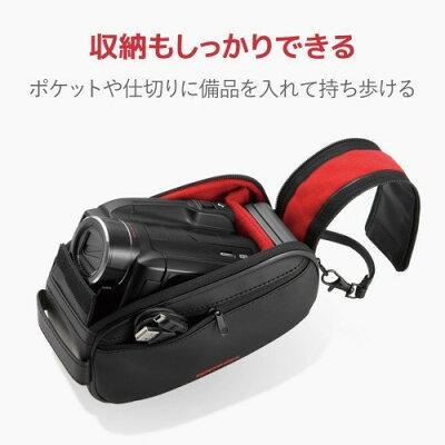 ELECOM デジタルビデオカメラケース/ ZEROSHOCK/ Lサイズ/ ブラック ZSB-DV007BK