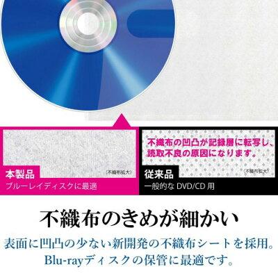 エレコム ブルーレイ・CD・DVD対応不織布ケース ホワイト CCD-NBWB240WH(1パック)