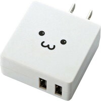 エレコム スマートフォン・タブレット用AC充電器 コンパクトフラットタイプ(2台充電) ホワイトフェイス MPA-ACUCN005WF(1コ入)