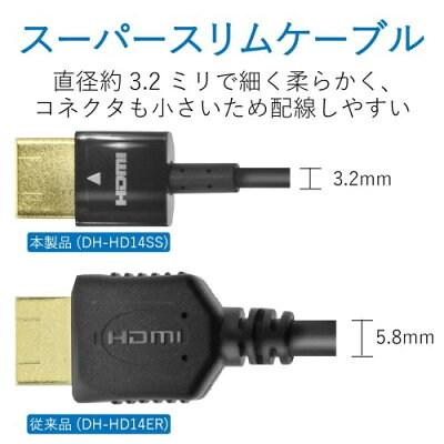 ELECOM HDMIケーブル DH-HD14SS10BK