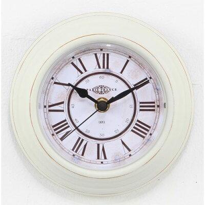 不二貿易 置き 掛け両用時計 スチールフレーム 直径14cm ホワイト 24623