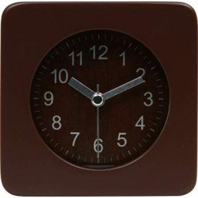 32705 不二貿易 目覚まし時計 スクエア ウッド ブラウン 32705フジボウエキ