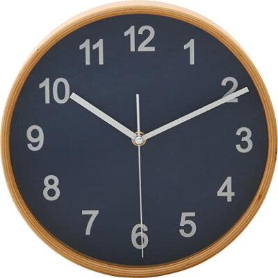 不二貿易 プライウッド 掛け時計 直径22cm ネイビー