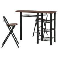 不二貿易 カウンターテーブル&チェアーセット BR/BK 95247