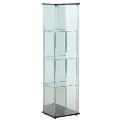 不二貿易 ガラスコレクションケース 4段 背面ミラー付き 色:ブラウン