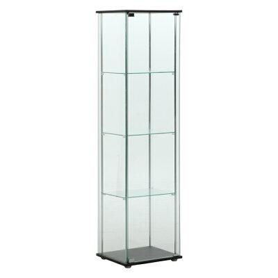 不二貿易 ガラスコレクションケース 4段 96047 色:ブラウン