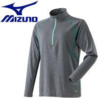 ミズノ MIZUNO レディース ブレスサーモ ライトインナージップネックシャツ グレー杢 A2MA8766 05