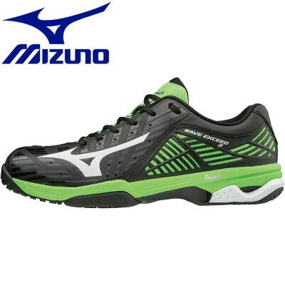 ミズノ MIZUNO メンズ レディース テニスシューズ ウェーブエクシード WAVE EXCEED2 SW OC ブラック×ホワイト×ライトグリーン 61GB181401