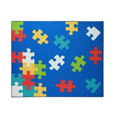 イケヒコ・コーポレーション デスクカーペット シンプル パズル柄 クロス ブルー 110×133cm