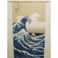 浮世絵(うきよえ)レースのれん 『白波』(しらなみ)(IT) サイズ:85×150cm(#9833640)
