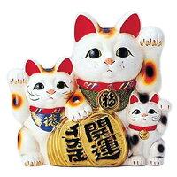 8450 梅月 6号白三匹猫 貯金箱 T931