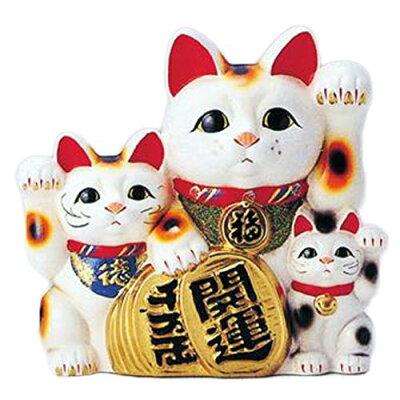 8451 梅月 7号白三匹猫 貯金箱 T932