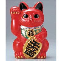 常滑焼 梅月 10号赤小判付招猫 8463
