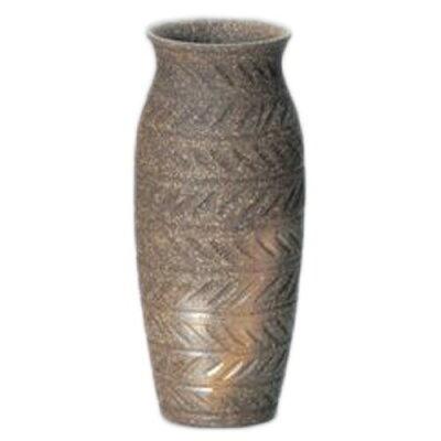 常滑焼 萬翠窯 焼〆長壷形矢ガスリ花瓶 3-854