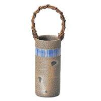常滑焼 萬翠窯 焼〆木賊紋つる付き花瓶 3-864