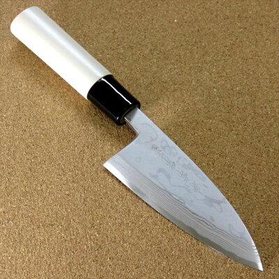 (関兼常) 最高級ダマスカス包丁 朴の木モデル 出刃 120ミリ