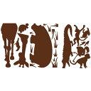ルームメイツ ピール&スティック アニマルシルエット(ブラウン) 752072×3シート