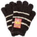 イチーナ 日本製・婦人用手袋  モール ボーダー 発熱 ブラウン フリーサイズ  6574