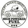 PEANUTS スヌーピー 転写式ステッカー SAFETY DRIVE ブラック