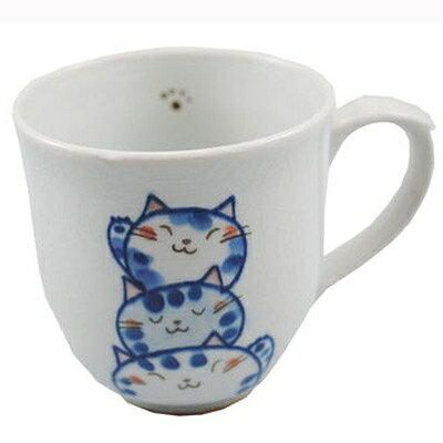 瀬戸焼neko陶器トリオ猫マグ 青
