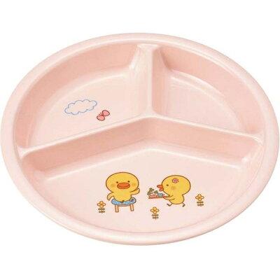 メラミン 子供食器 ひよこぐみ 三つ仕切皿 小 ピンク J25HIP