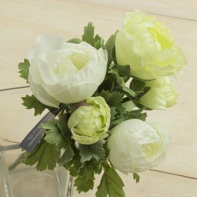 ポピー 造花 ラナンキュラスブッシュ グリーンホワイト FB-2307G W