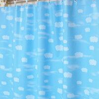 遮光 お風呂の窓用 シャワーカーテン 雲柄 100×105