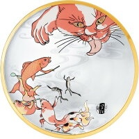 プレミアムニッポンテイスト 江戸猫 丸皿 金魚 6740(1個)