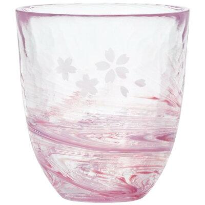 津軽びいどろ 手に馴染むグラス290ml 桜流しシリーズ F71659