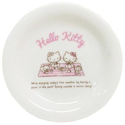 ハローキティ 小皿 ホリデイ ミニプレート ピクニック サンリオ 金正陶器    食