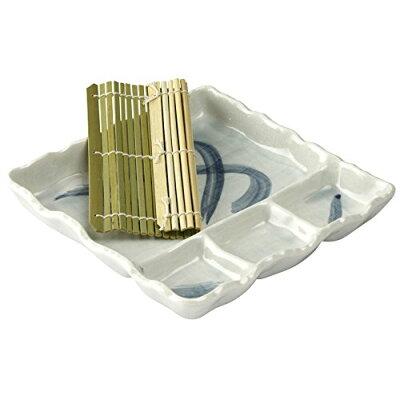萬古焼 麺の器 仕切 麺皿 すのこ付 ておこし流水 08845