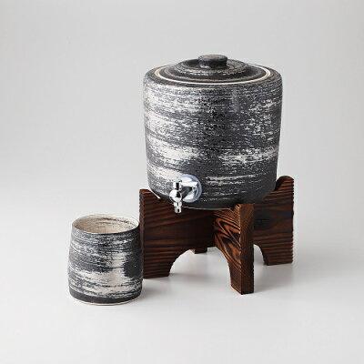 西日本陶器 有田焼 陶悦窯 銀刷毛 焼杉台付焼酎サーバー+ビッグカップ TC-06-04