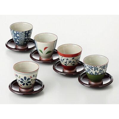 SAIKAITOKI/西海陶器 染錦いろどり 煎茶5客揃 茶托付 13041