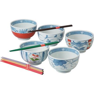 SAIKAITOKI/西海陶器 彩絵変り 箸付一膳丼揃