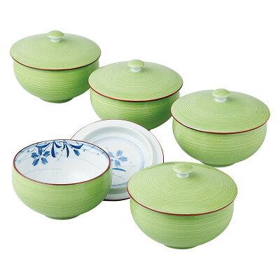 西海陶器 緑巻桔梗絵 蓋付汲出揃 K90-56955