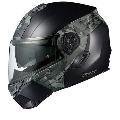 OGK KABUTO オージーケーカブト システムヘルメット KAZAMI カザミ CAMO カモ フラットブラック グレー ヘルメット サイズ:L 59-60cm