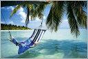 ポスター ハンモック ビーチ+アルミフレームホワイト   HR-13676W